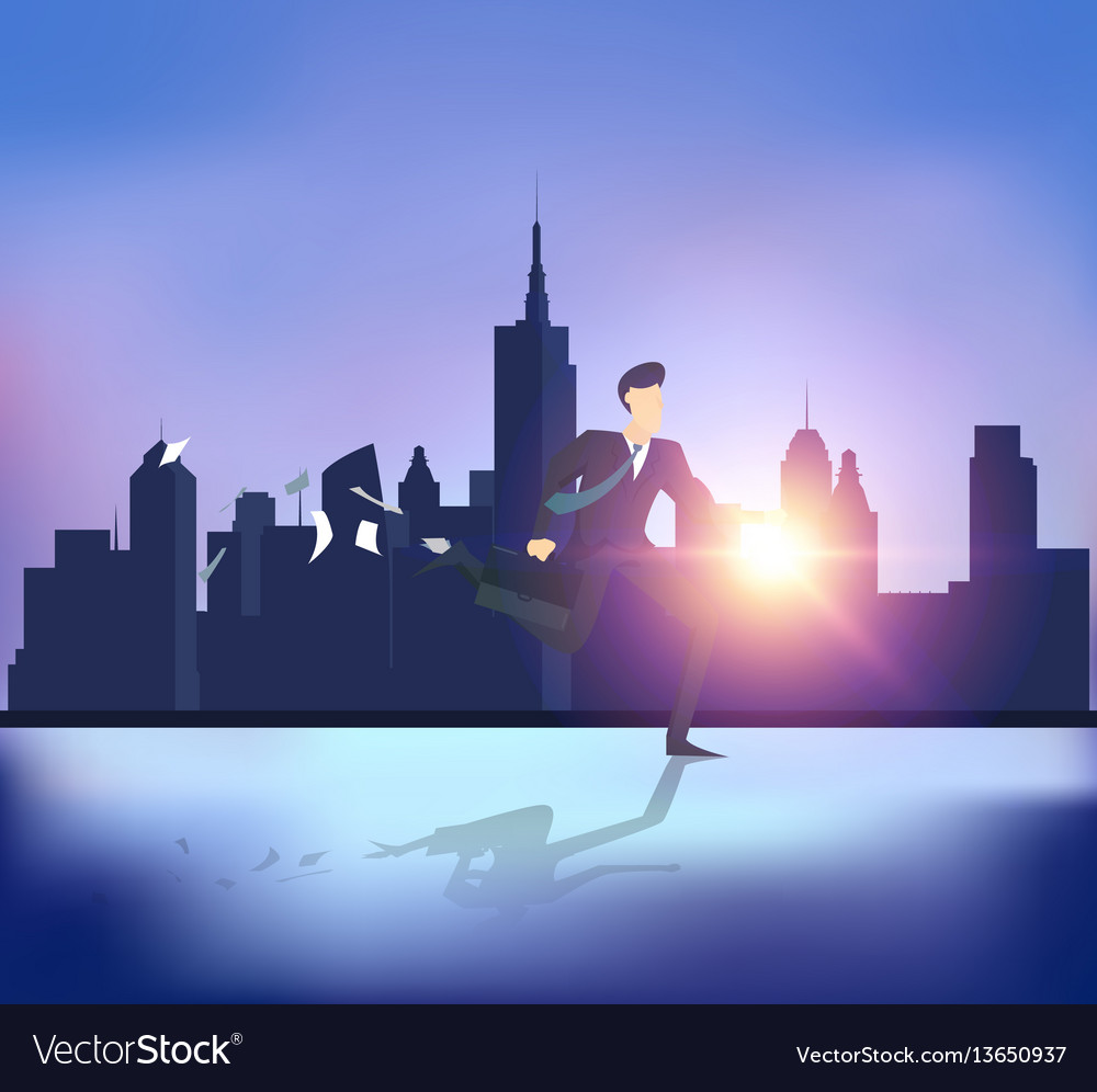 Abstract business people running with building