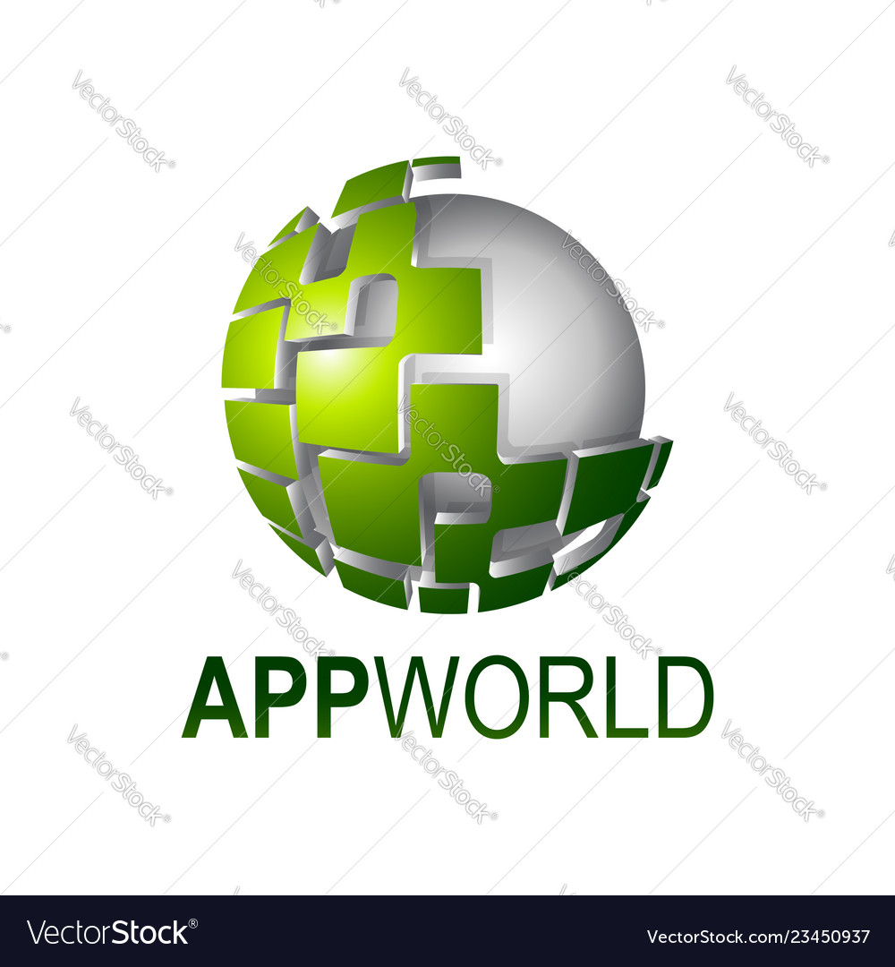 App world shiny digital sphere logo concept