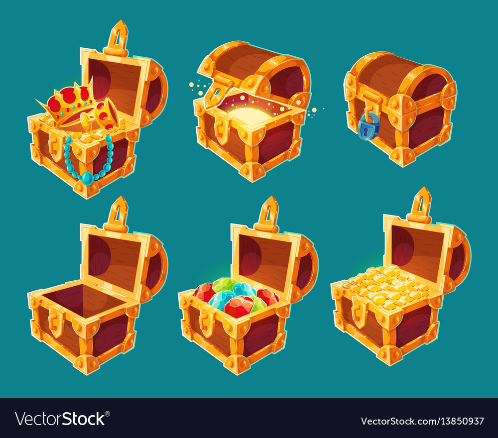 Collection wooden chests with treasures gold