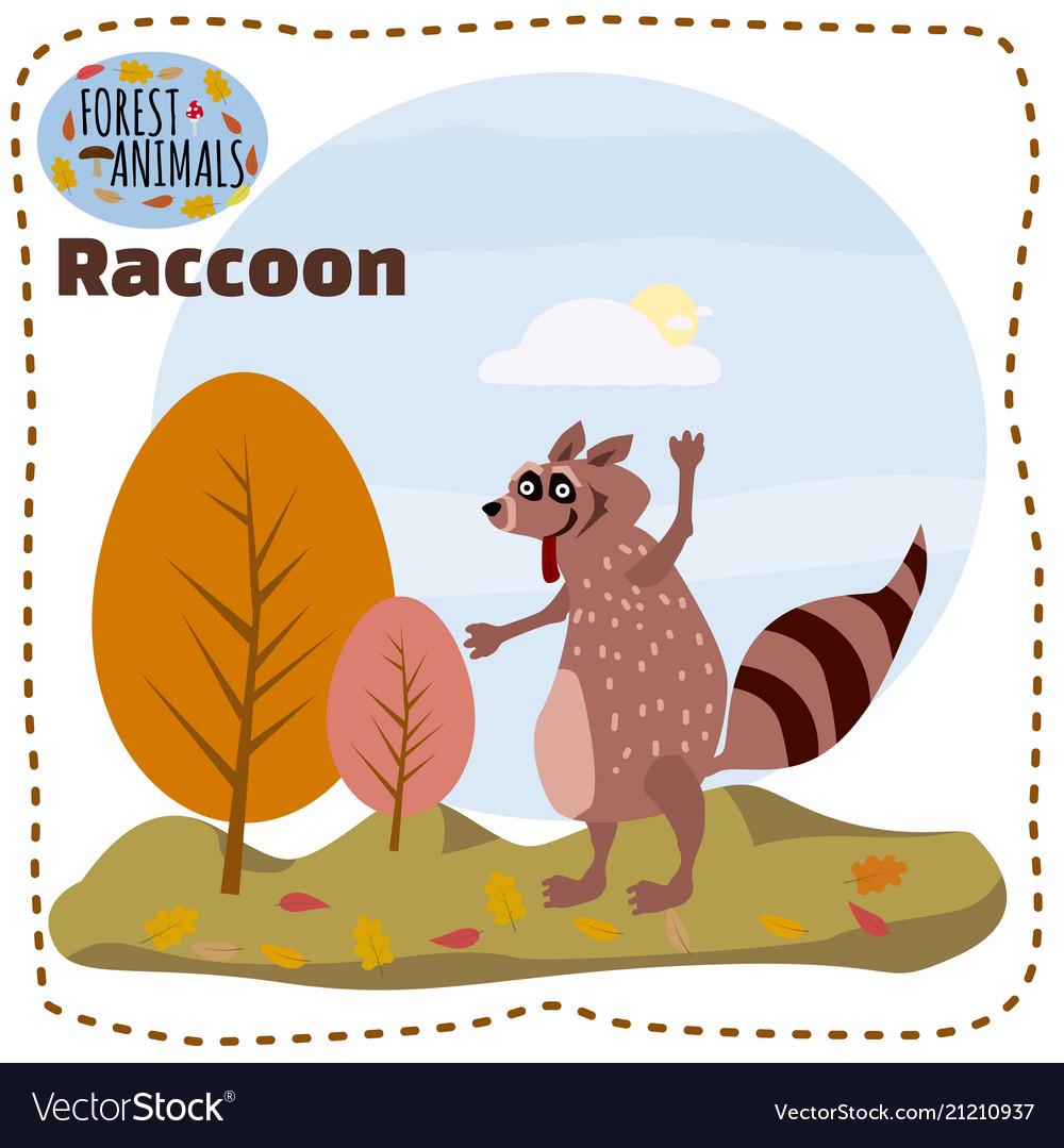 Cute cartoon raccoon on background landscape