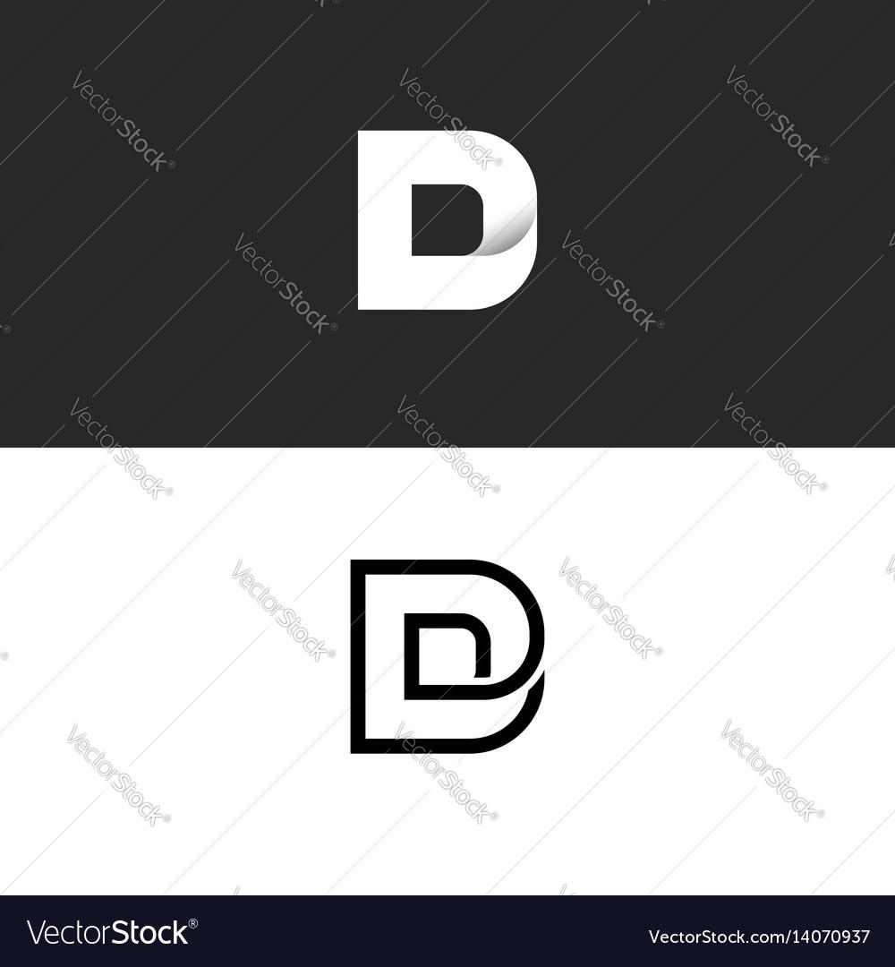 D letter logo monogram typography design element vector image