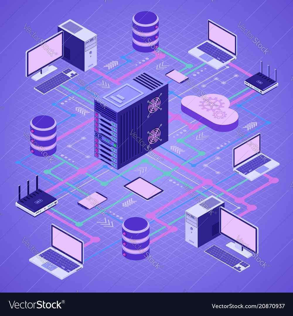 Data network cloud computing technology isometric vector image