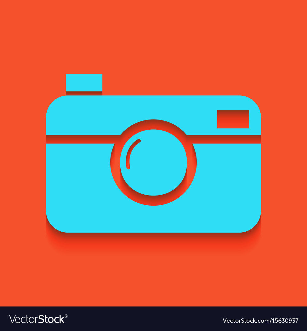 Digital photo camera sign whitish icon on vector image