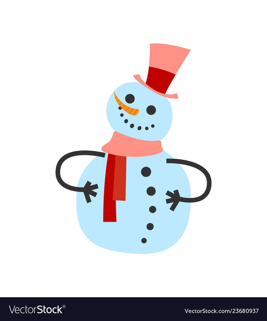 Female snowman in warm winter scarf and high hat