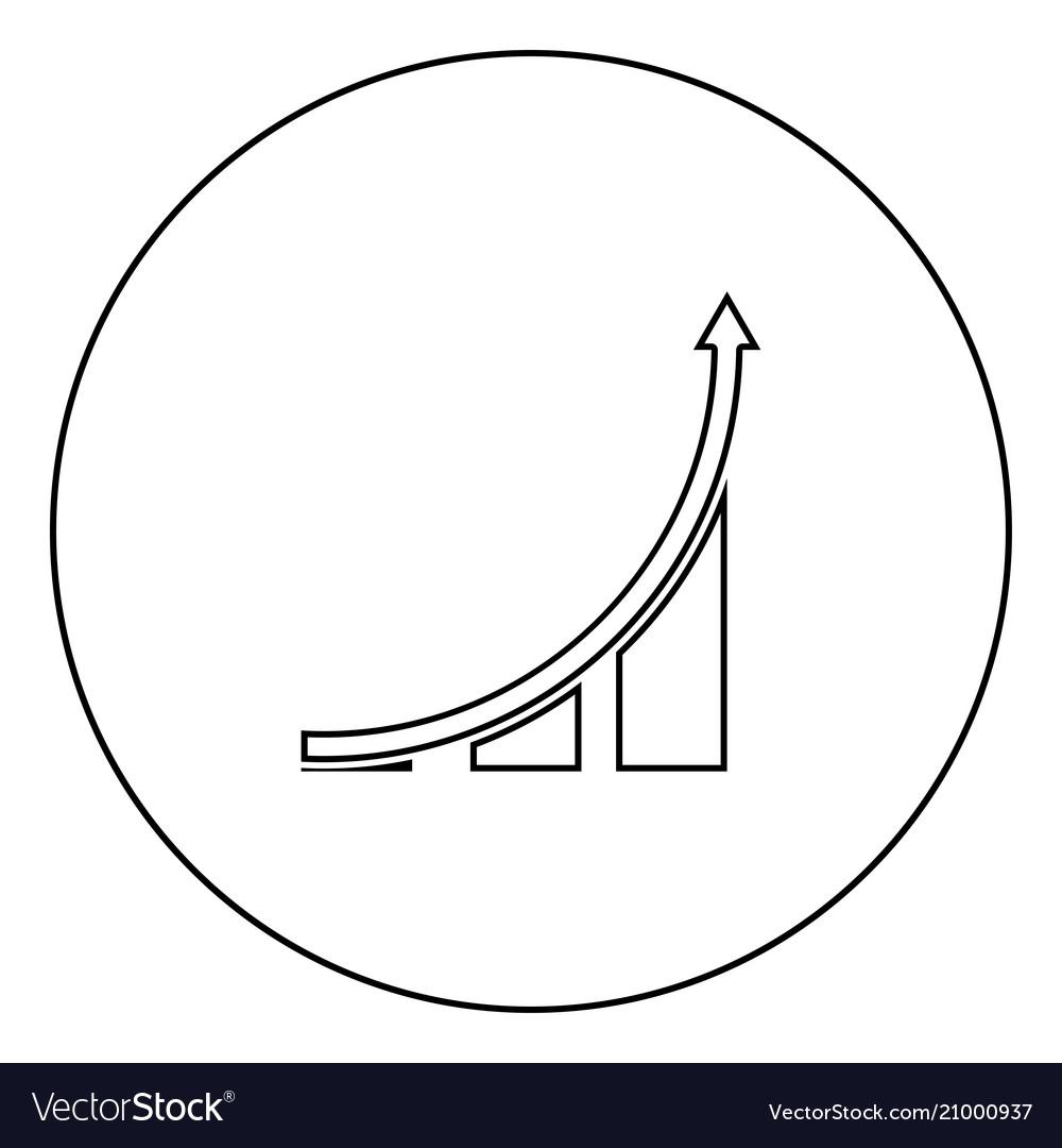 Graph icon black color in circle