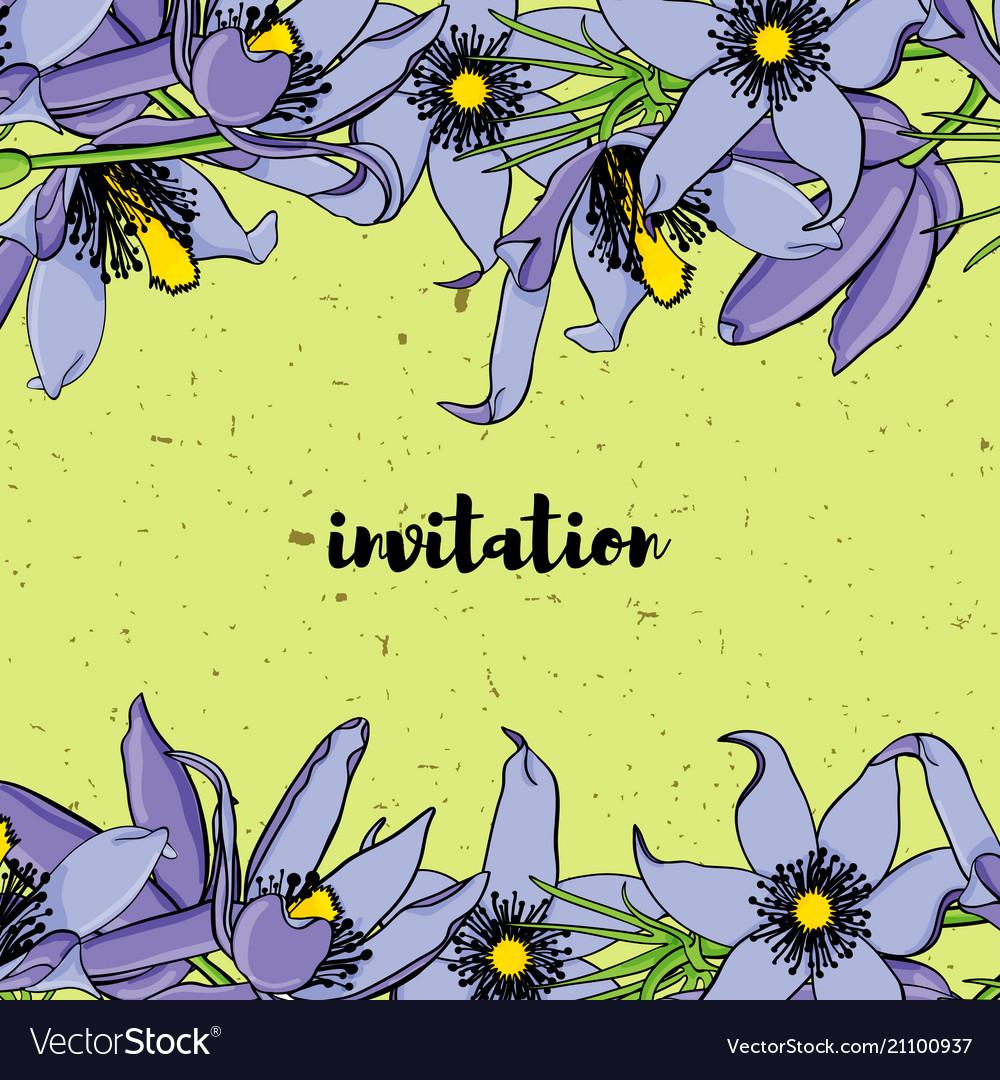 Hand drawn vintage floral card