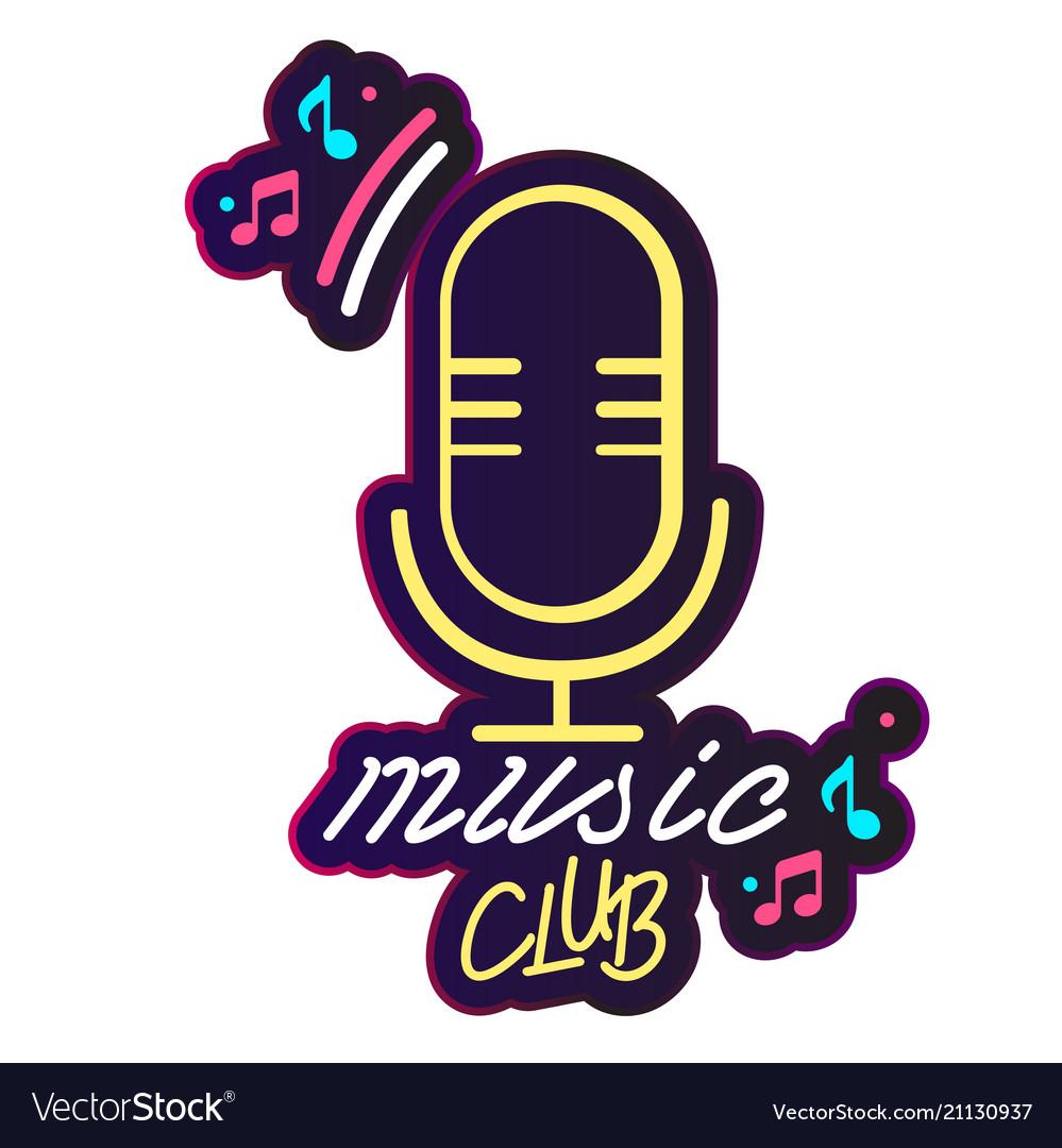 Neon music club retro microphone background