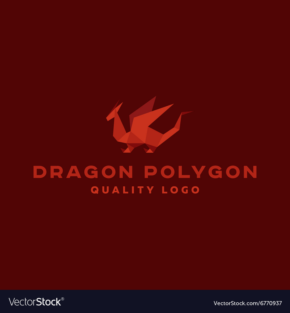 Polygon dragon origami logo professional