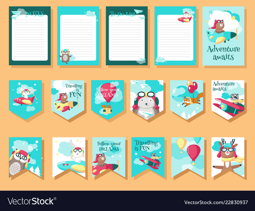 Set of cards with pilot animals and travel