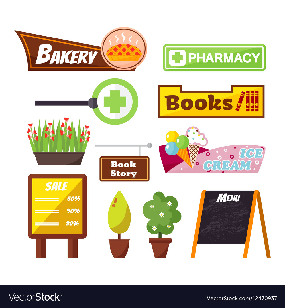 Shop facade signboard elements set vector image