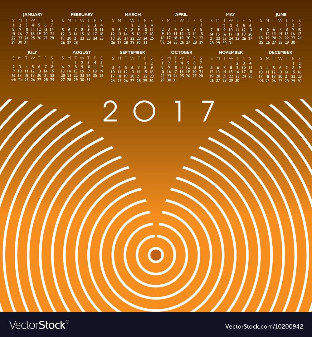 A 2017 abstract wavy line calendar vector image