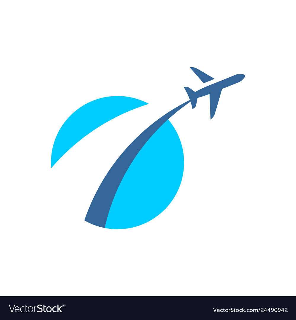 Airplane fly out logo plane taking off stylized