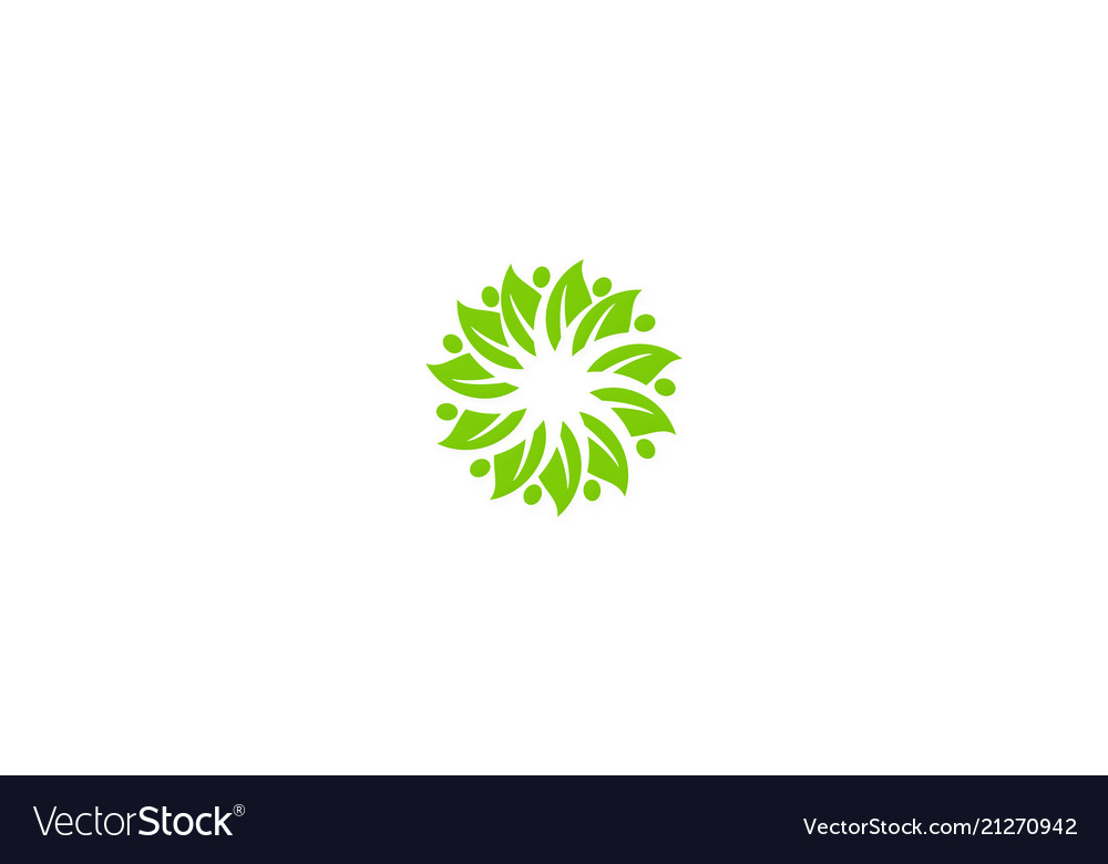 Circle green leaf business logo