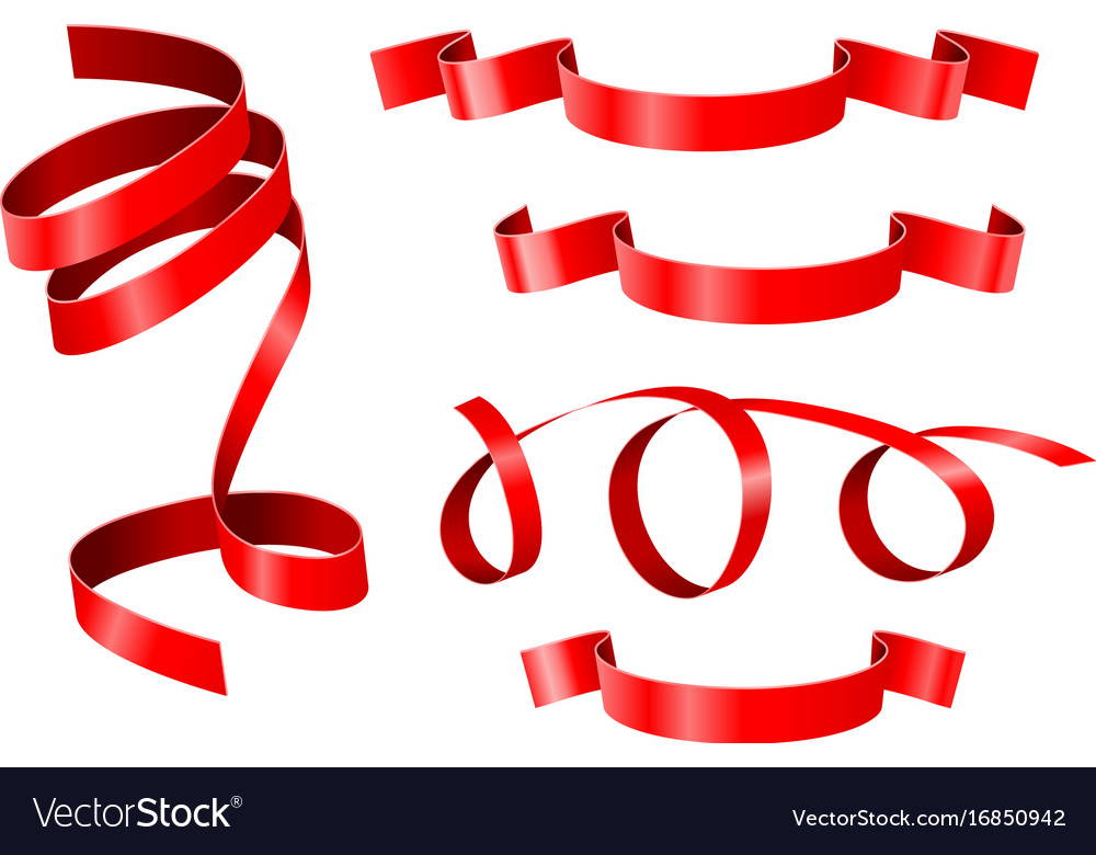 Curled ribbons collection of red ribbon banners