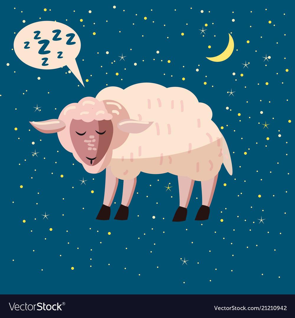 Cute cartoon sheep isolated