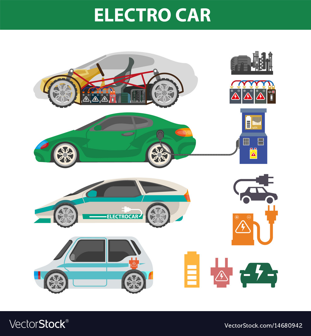 Electric cars colorful poster with ways of