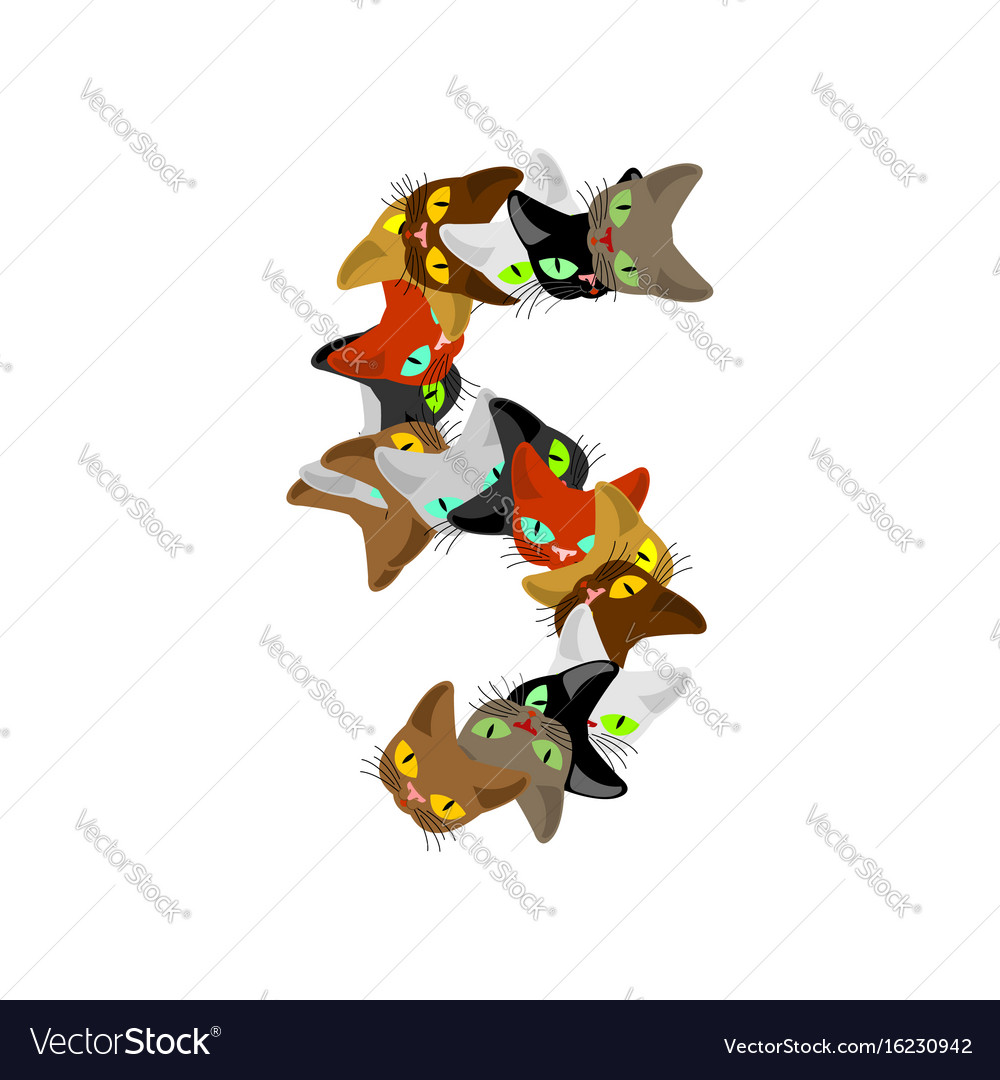 Number 5 cat font cats number five pet alphabet vector image