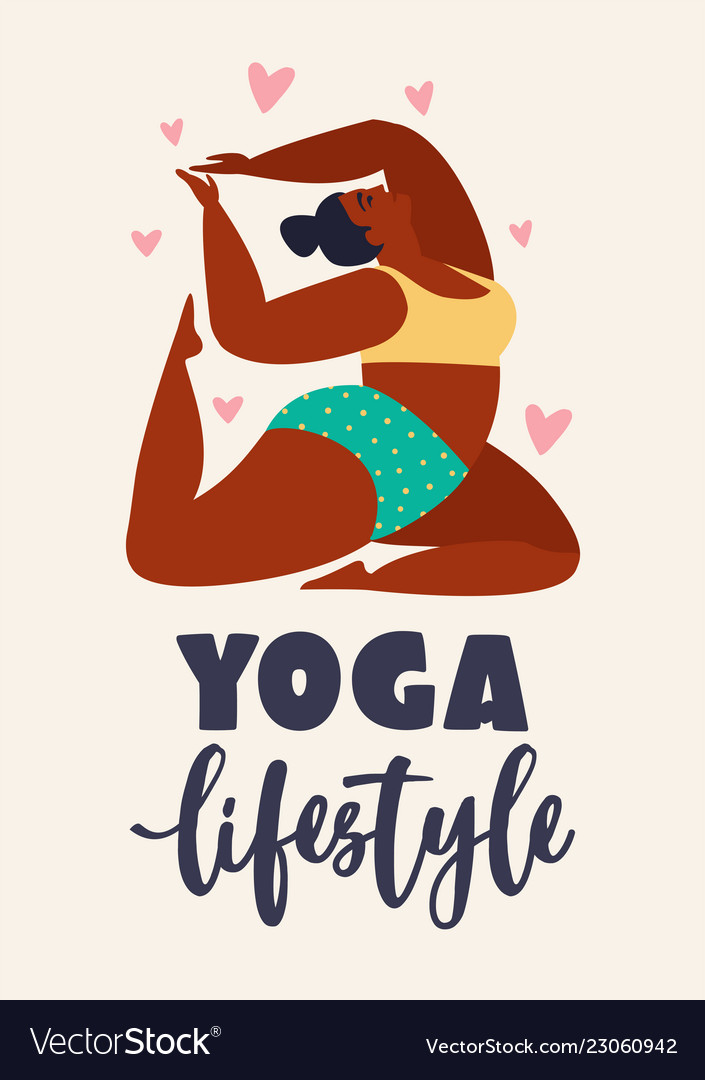 Plus size young women doing fitness yoga forward