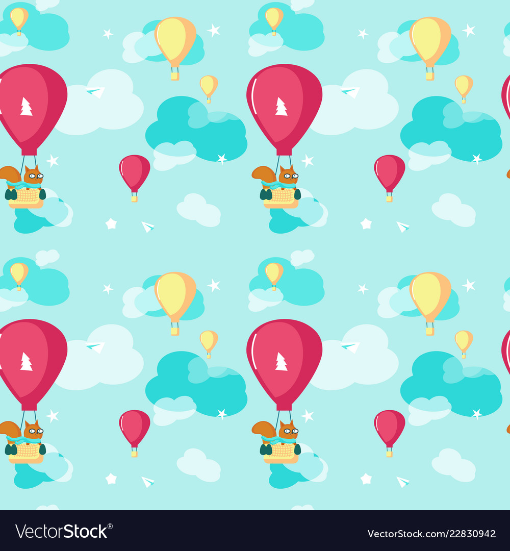 Seamless pattern with cute pilot squirrel vector