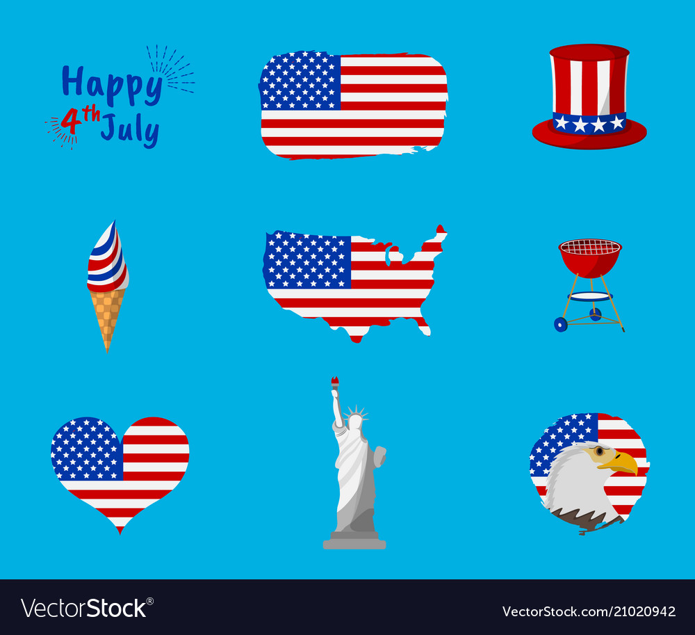 Set of independence day and happy 4 th july icon