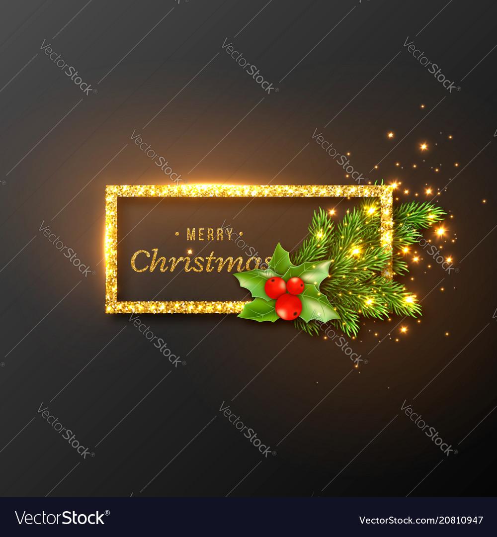 Christmas design realistic gold frame