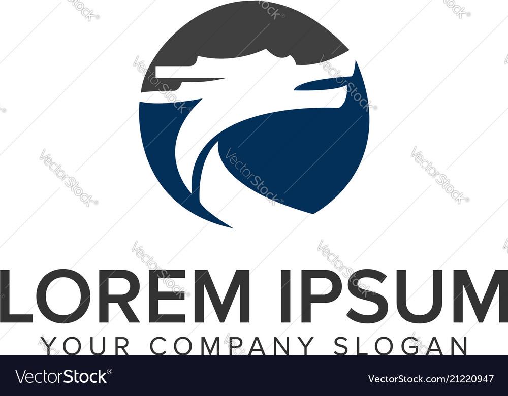 Dragon circle logo design concept template