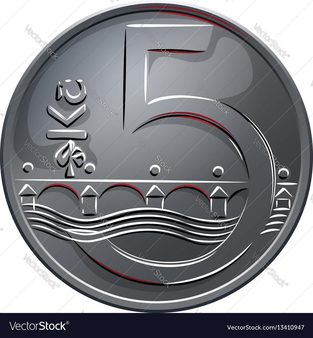 Money five czech crones coin reverse