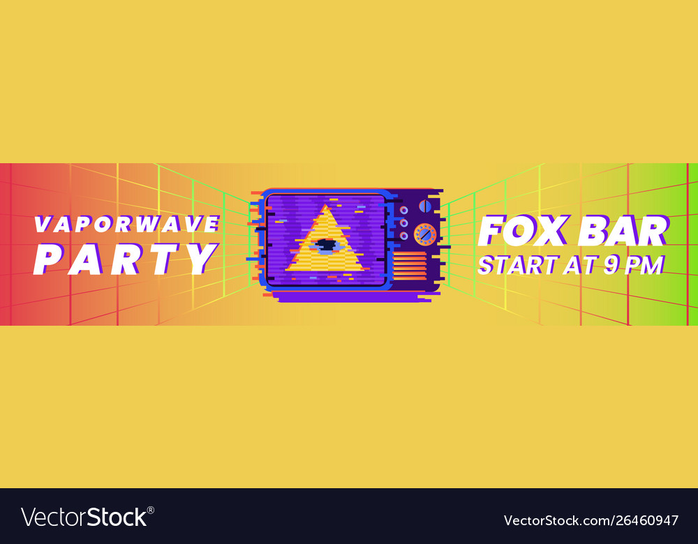 Retro vaporwave party banner template