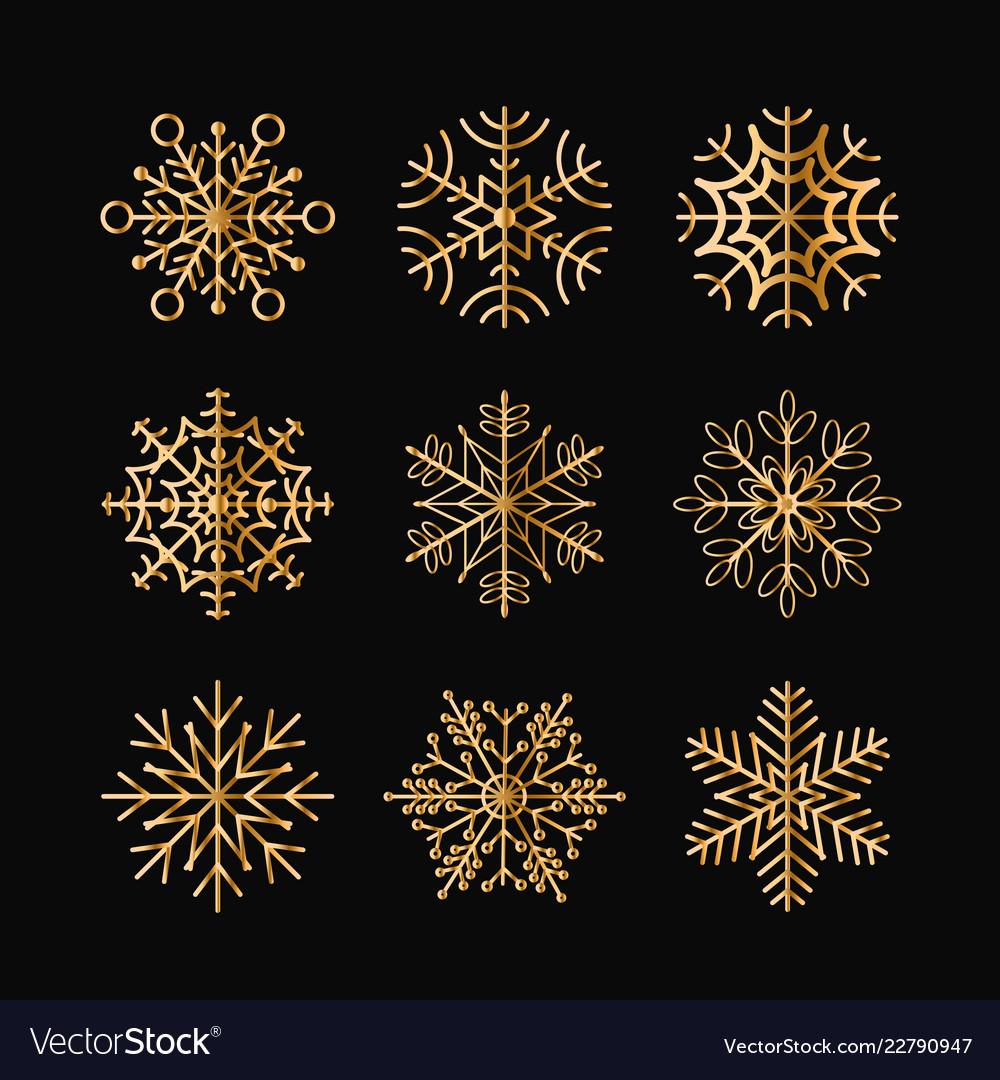 Set golden snowflakes