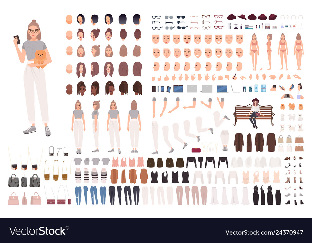 Stylish young woman animation set or constructor