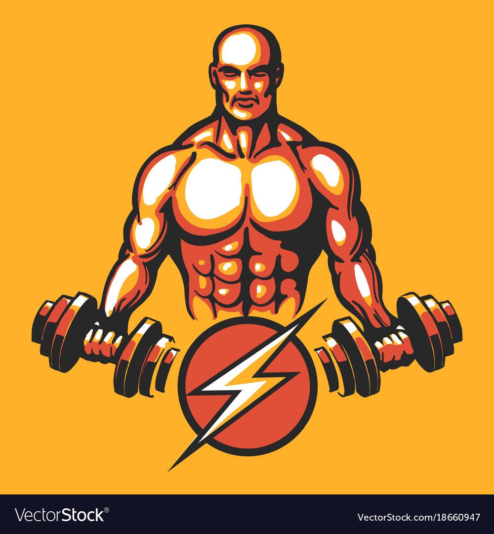 Training bodybuilder emblem