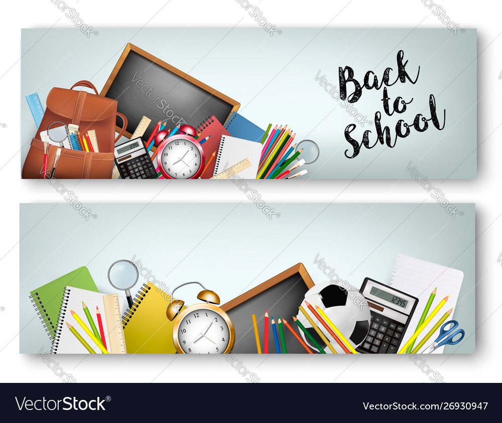 Two back to school banners with supplies tols and