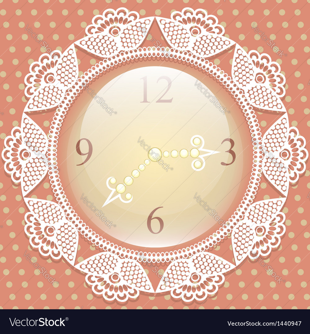 Vintage background with elegance clock and lace