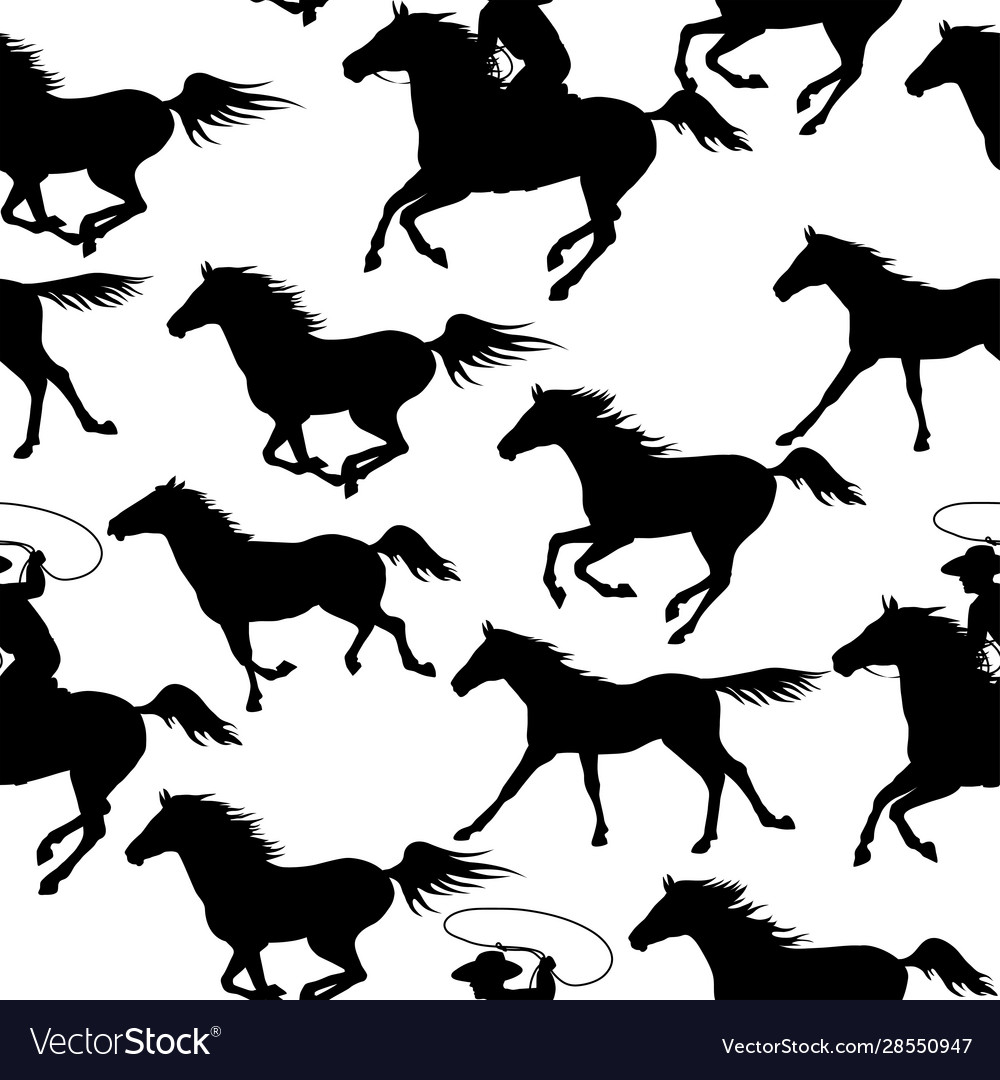 Vintage seamless backgrounds with wild horses