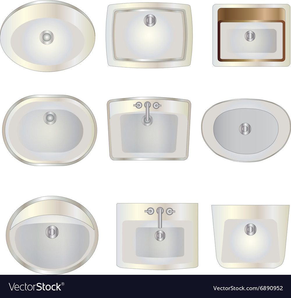 Bathroom Wash Basin Top View Set 10 For Interior Vector Image