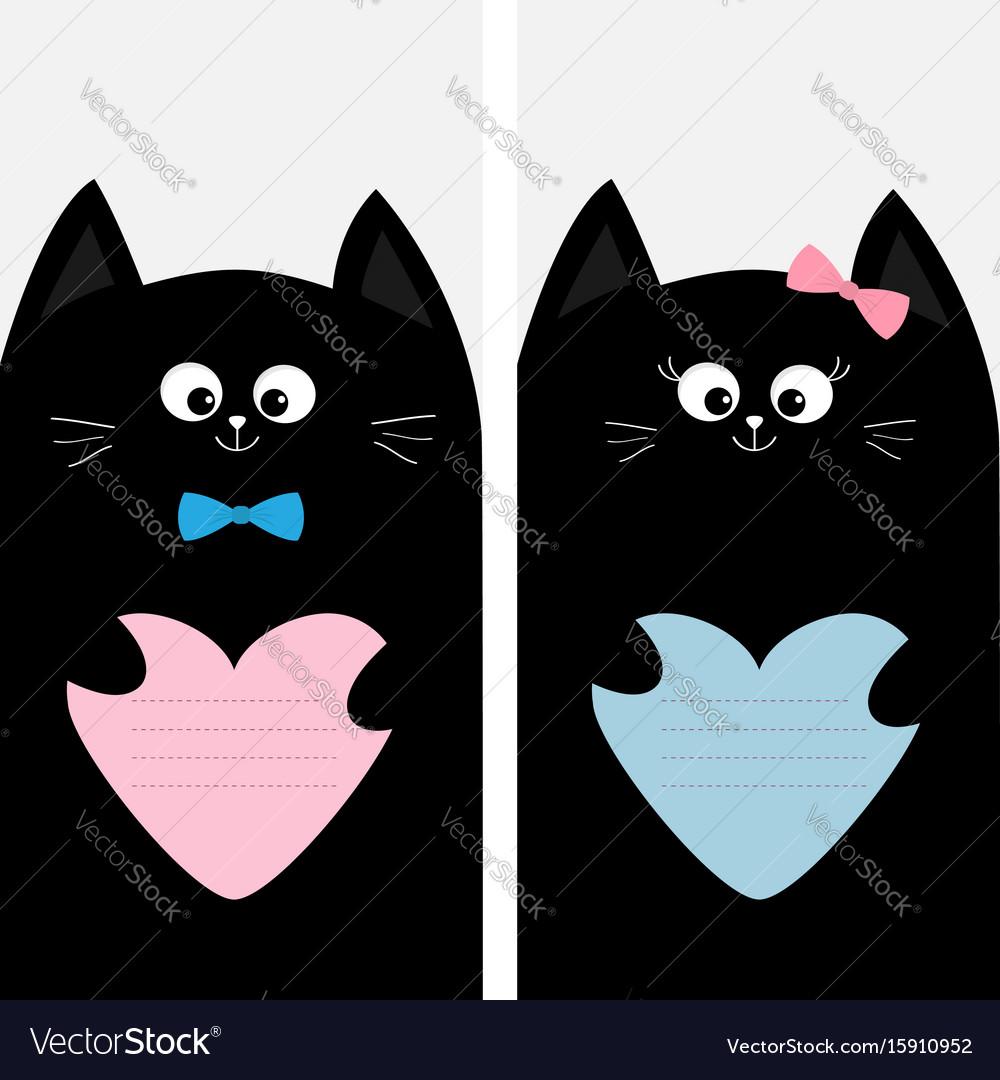 Black cat kitty family holding blue pink heart