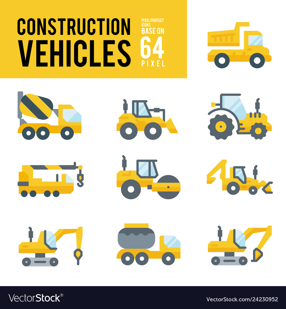 Construction vehicle and transport flat icons