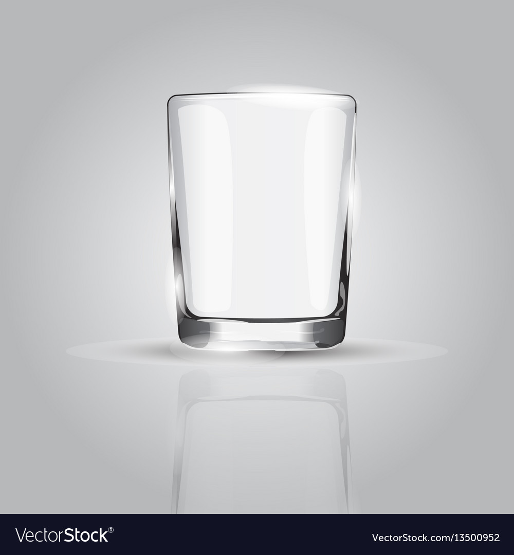 Empty drinking glass cup on grey background vector image