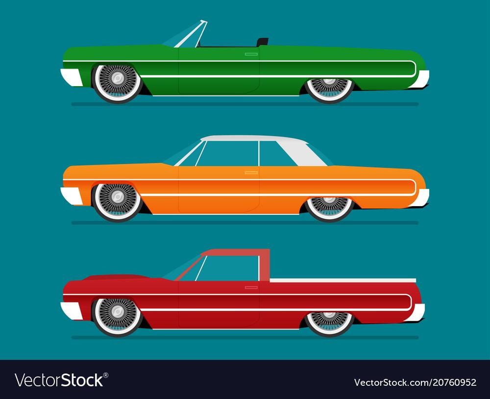 Flat lowrider car set