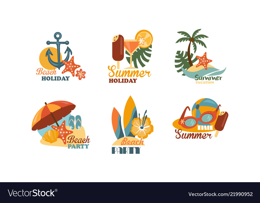 Flat set of emblems related to summer