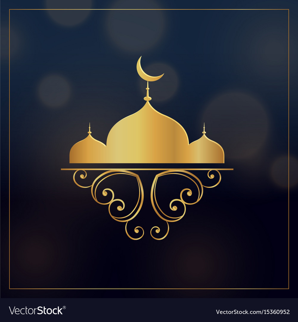 Golden mosque with floral decoration for eid vector image