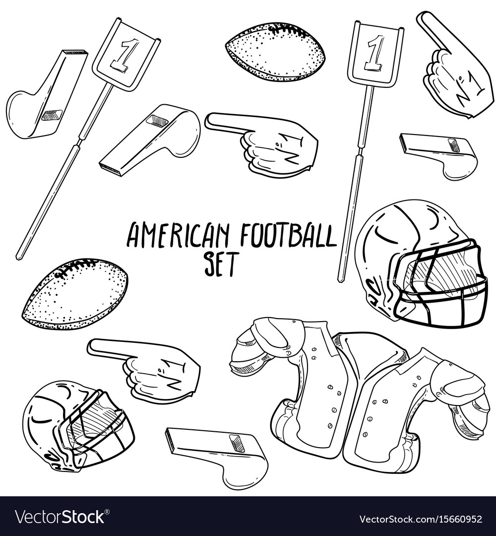 Hand drawn american football elements