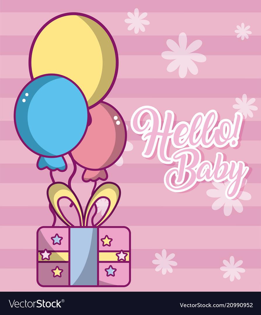 Hello baby cute card vector image