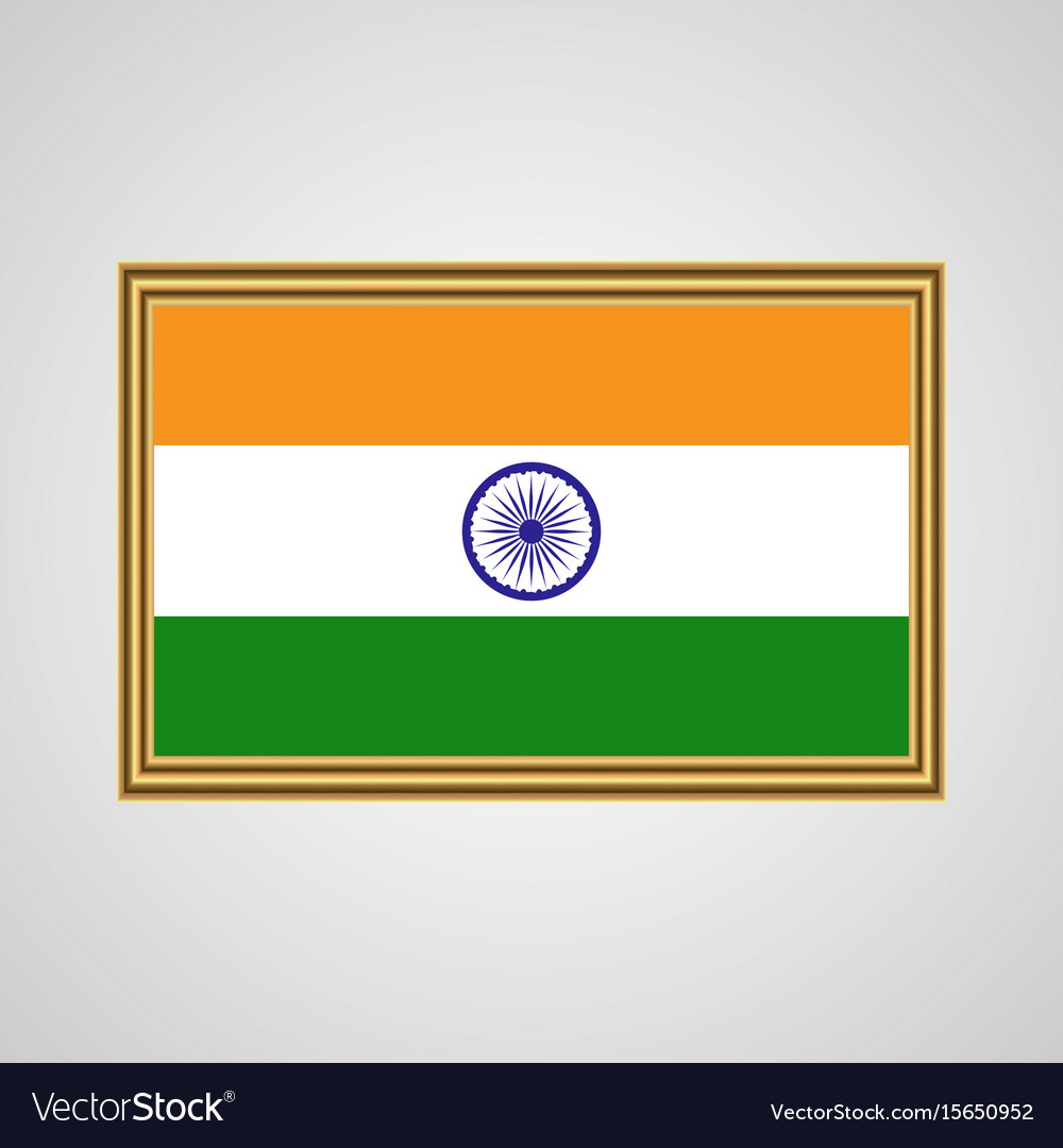 Indian flag in a golden frame on a gray background