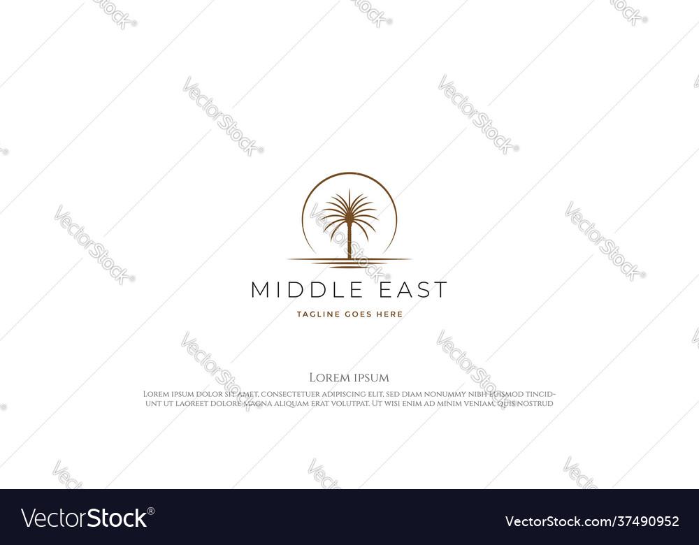 Sunset sunrise arabian middle east palm date tree