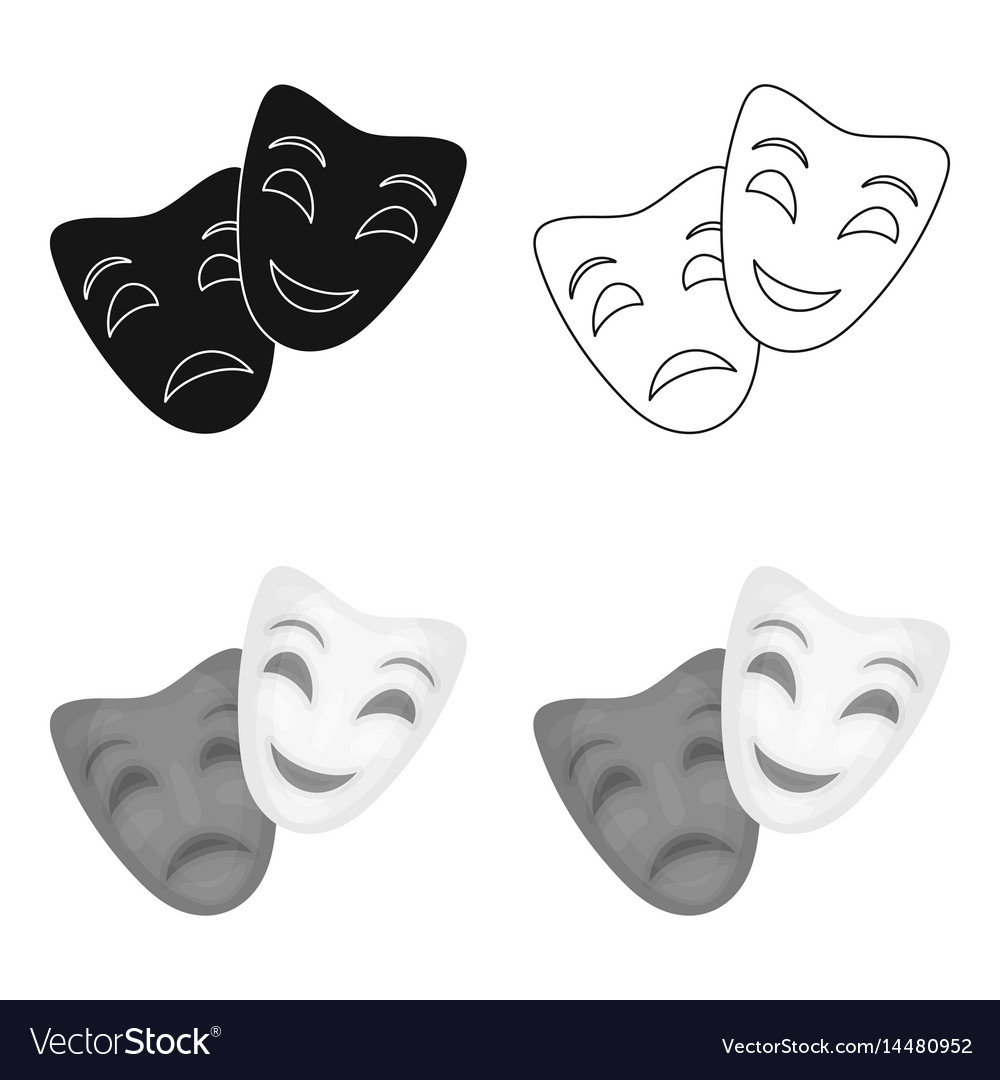 Theater masks icon in cartoon style isolated on