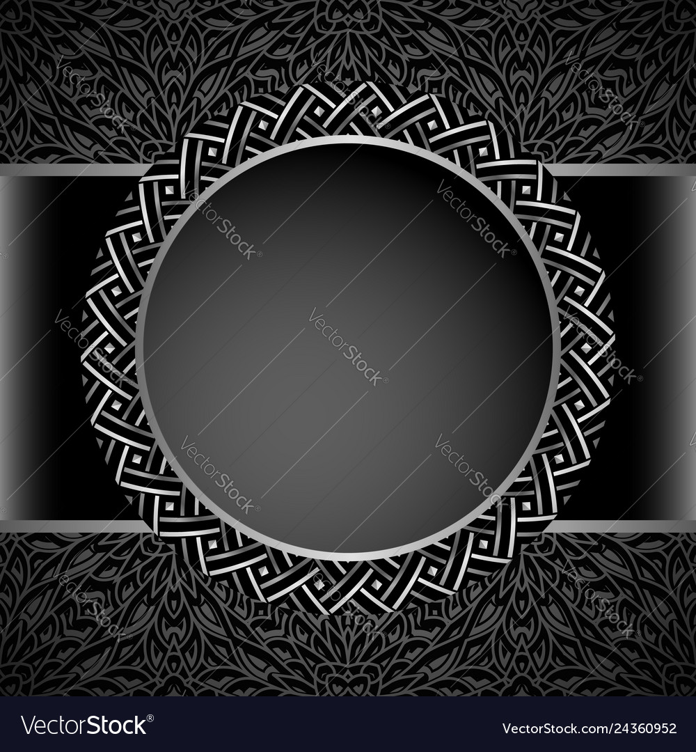 Vintage round frame with metal border pattern