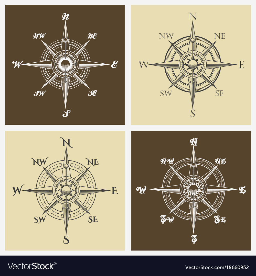Wind rose compass set