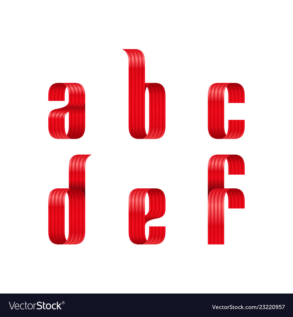 A b c d e f lowercase letters font from a red
