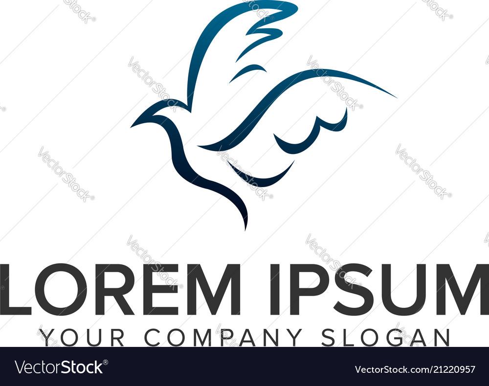 Abstract dove drawn logo design concept template